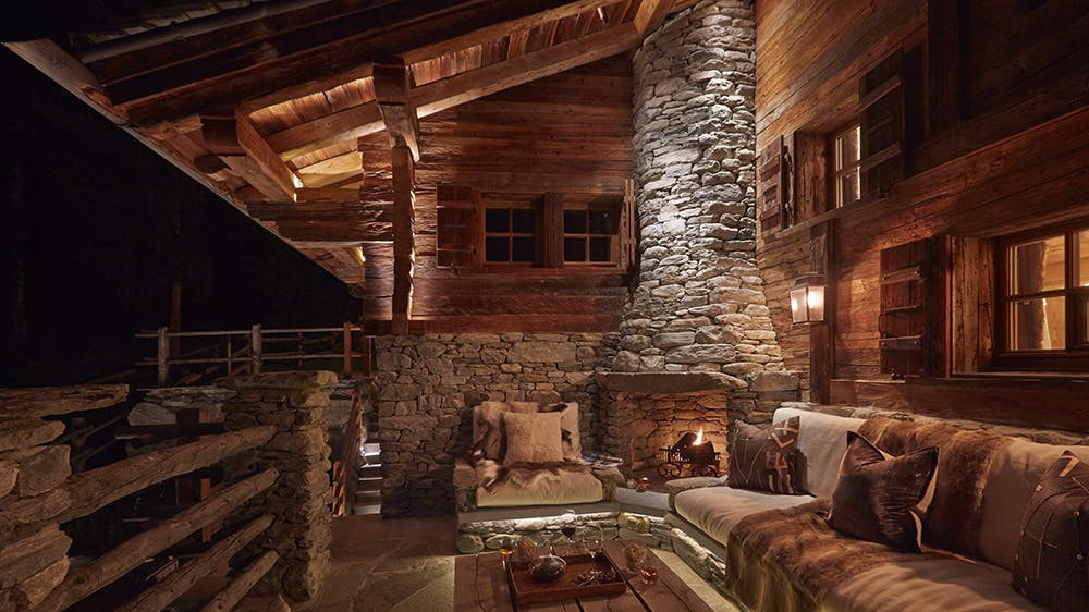 Chalet lighting exterior seating area