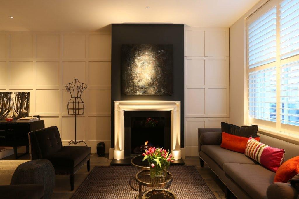 uplit fireplace in living room