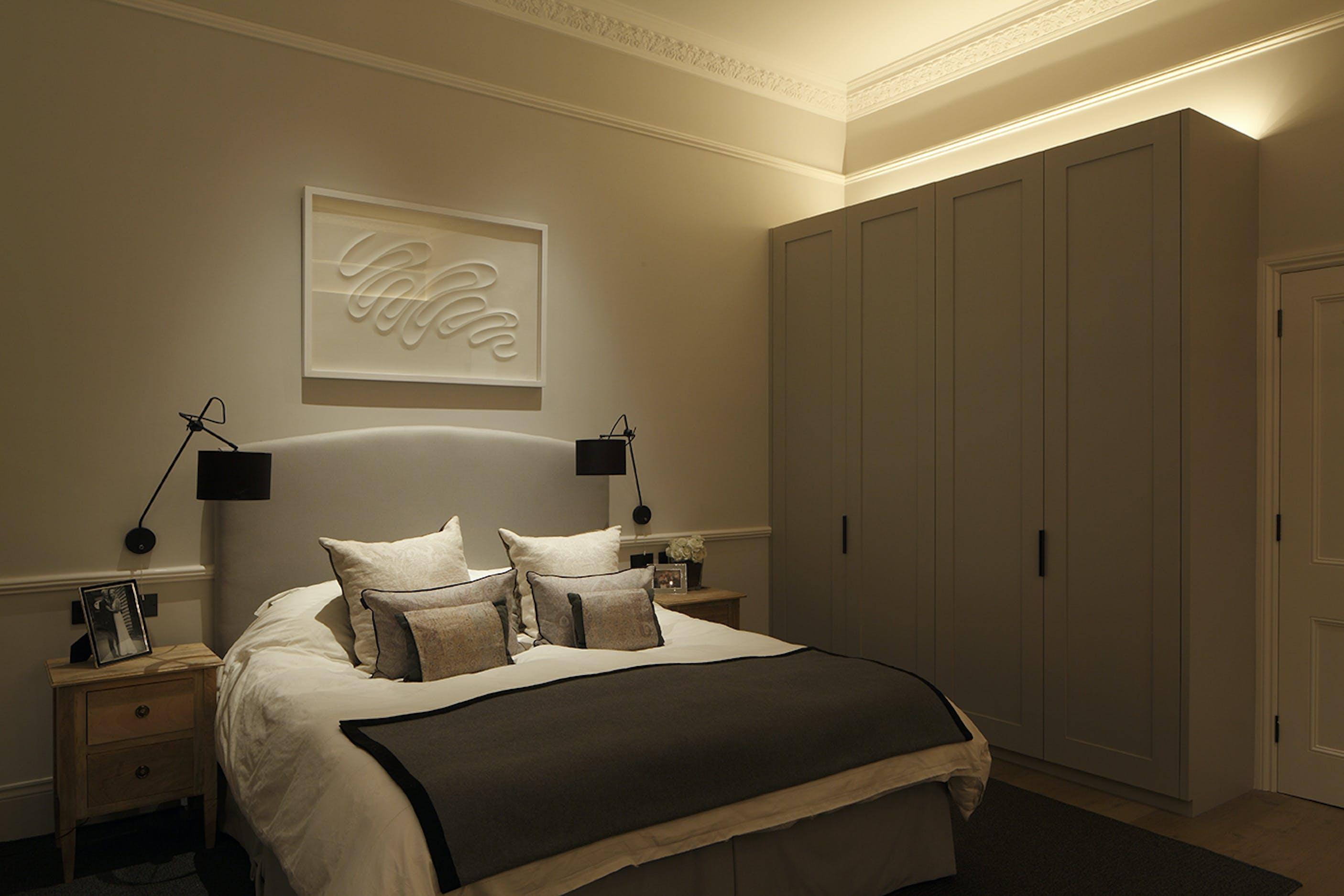 high ceilinged bedroom lighting