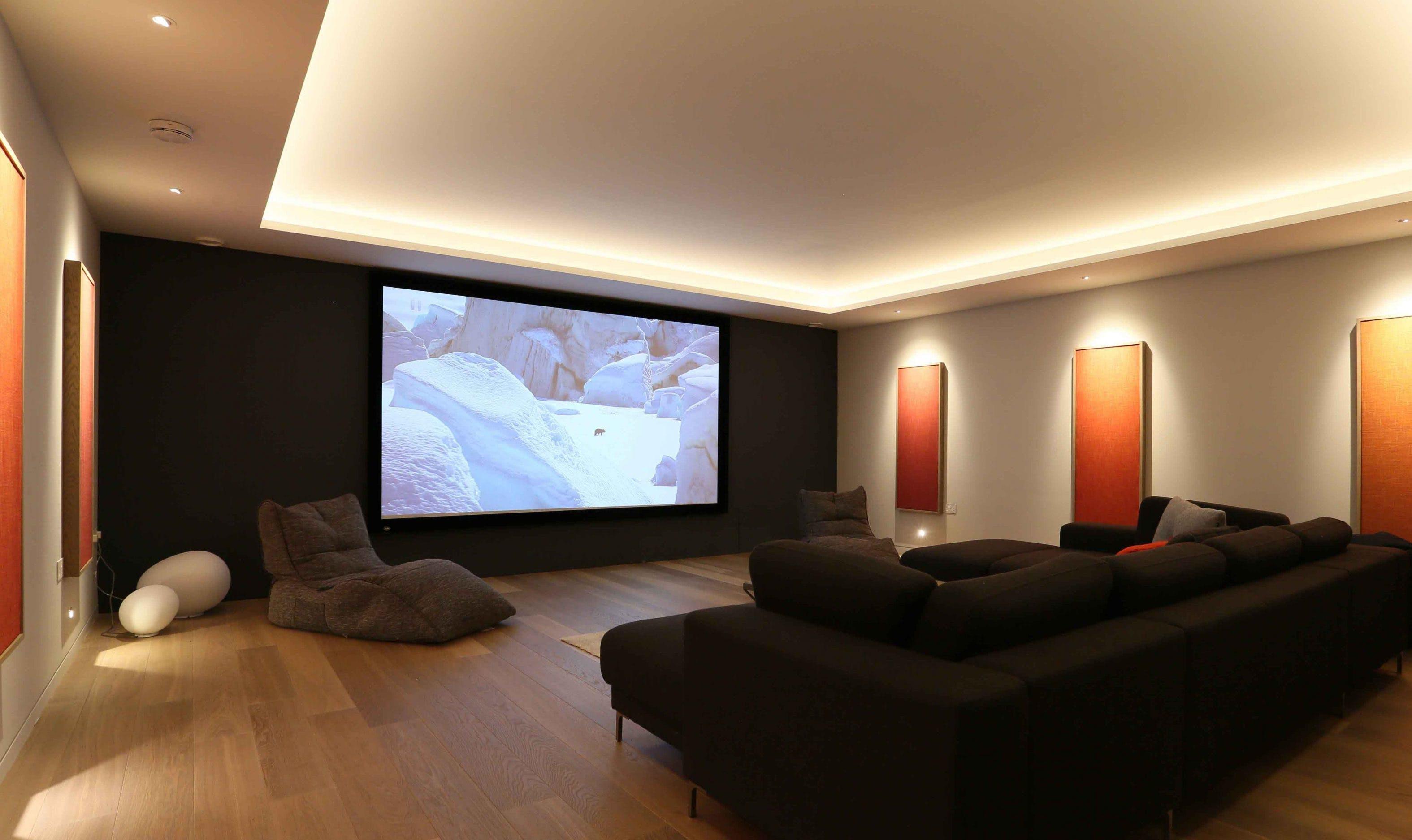 basement cinema room lighting with coffer ceiling