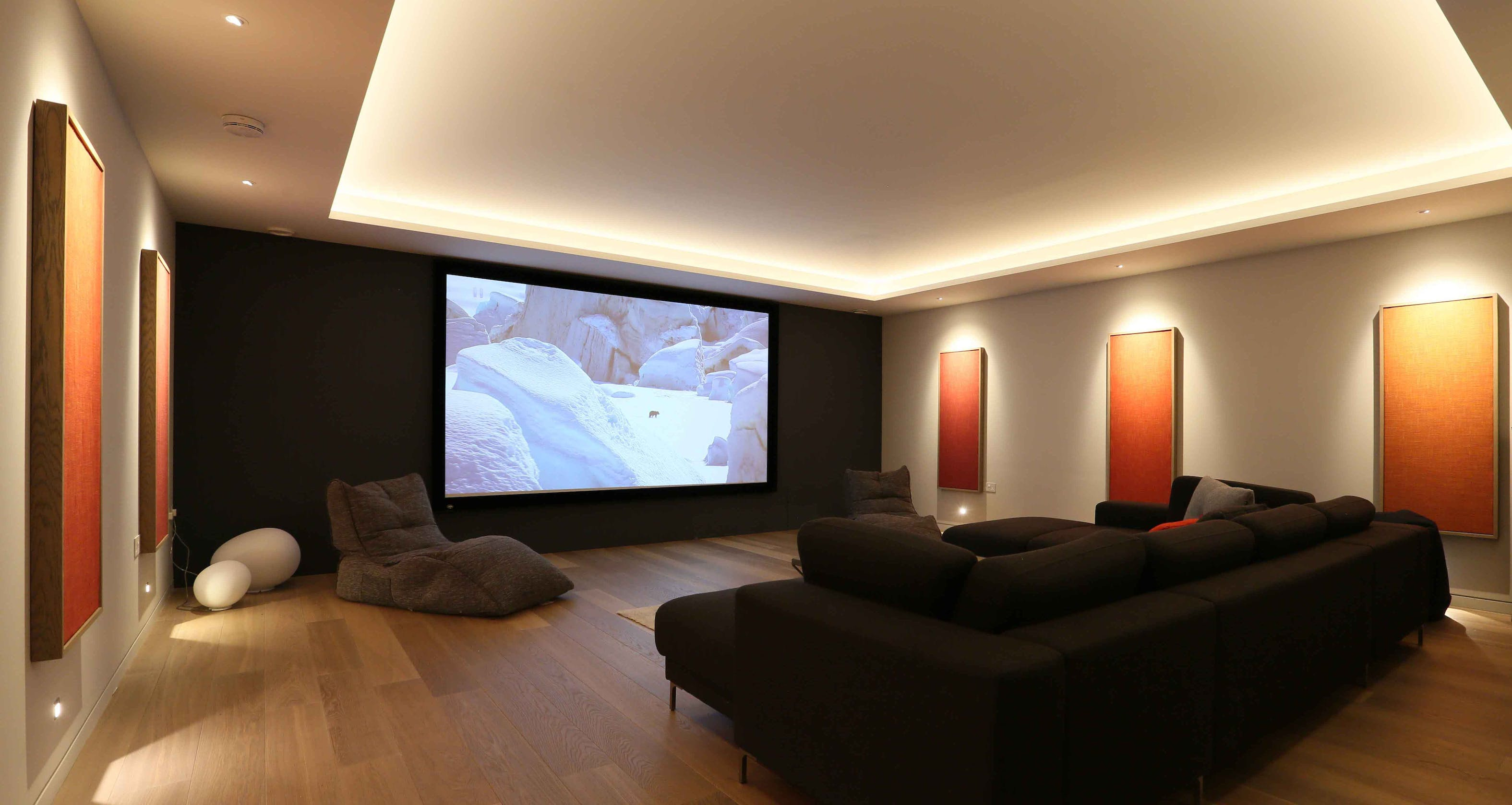 basement cinema room lighting with coffer ceiling