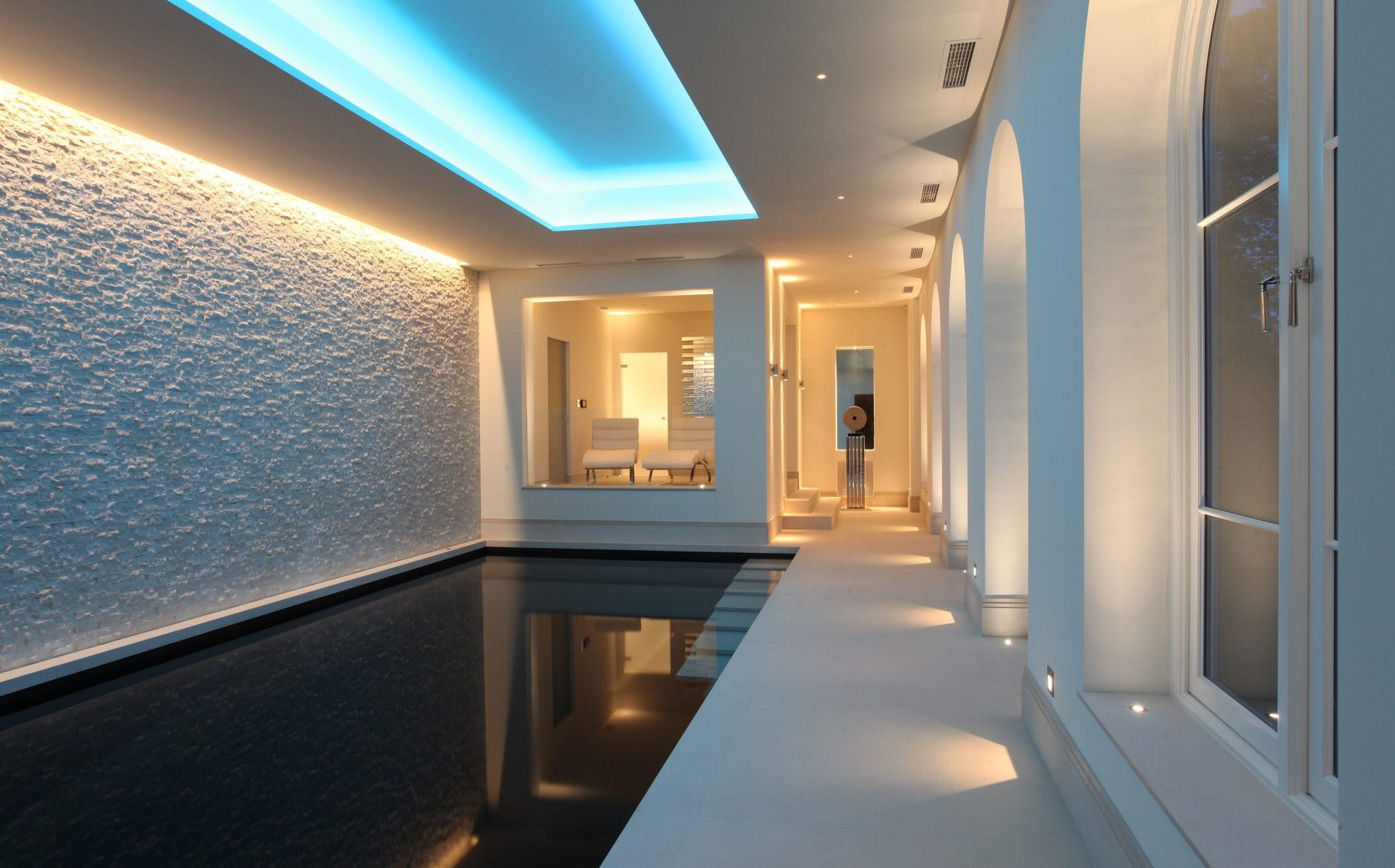 contemporary basement swimming pool