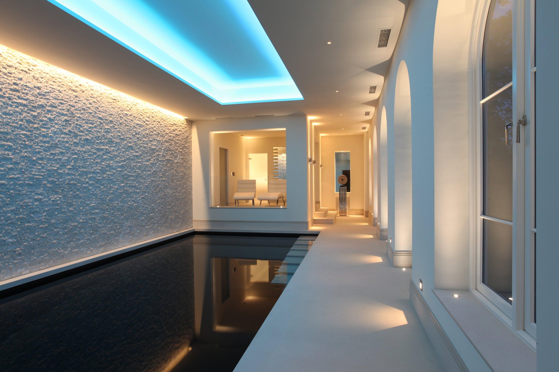 contemporary basement swimming pool