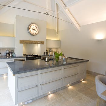 Lighting floor washing in kitchen