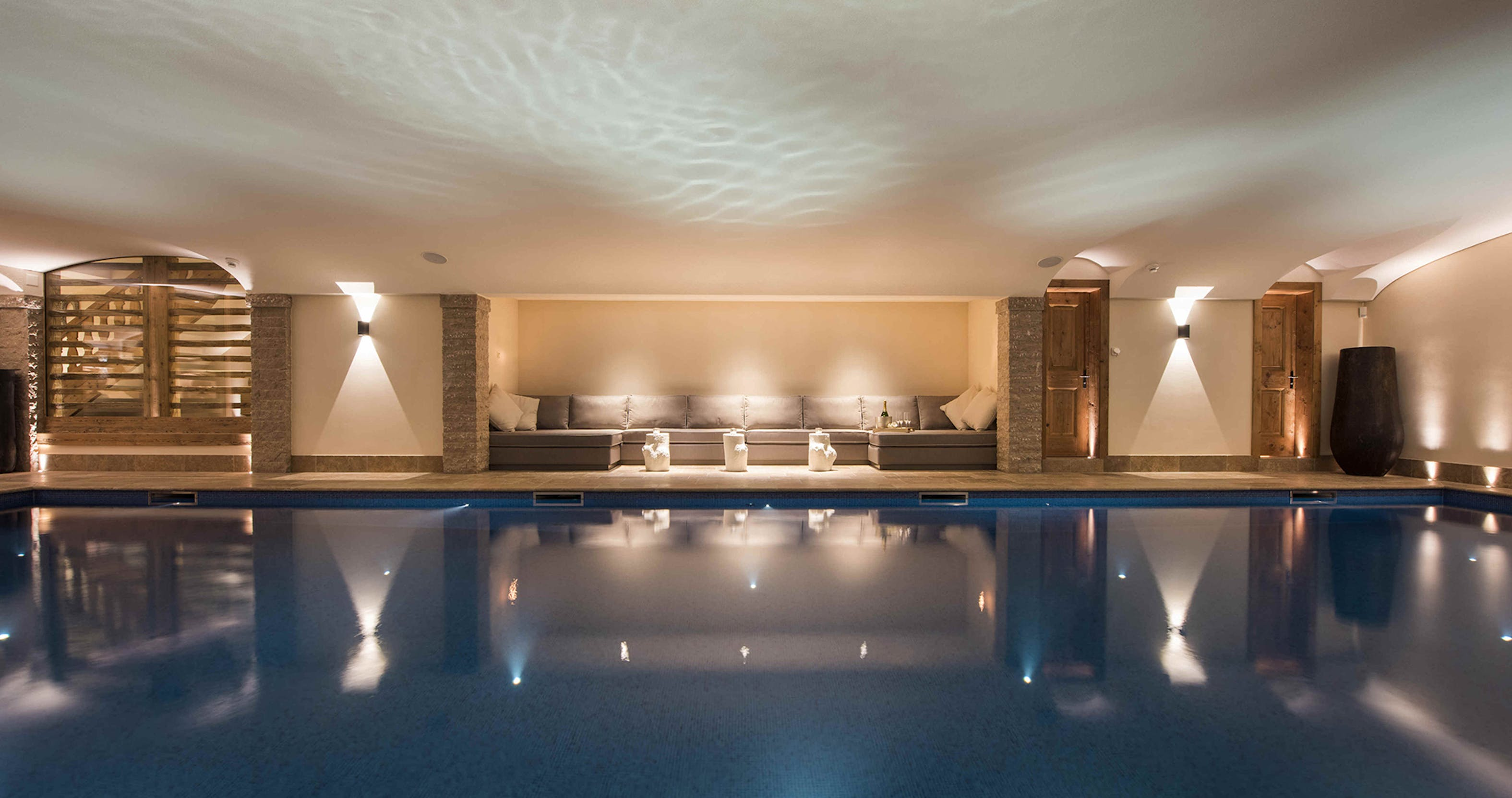 chalet swimming pool and seating area lighting