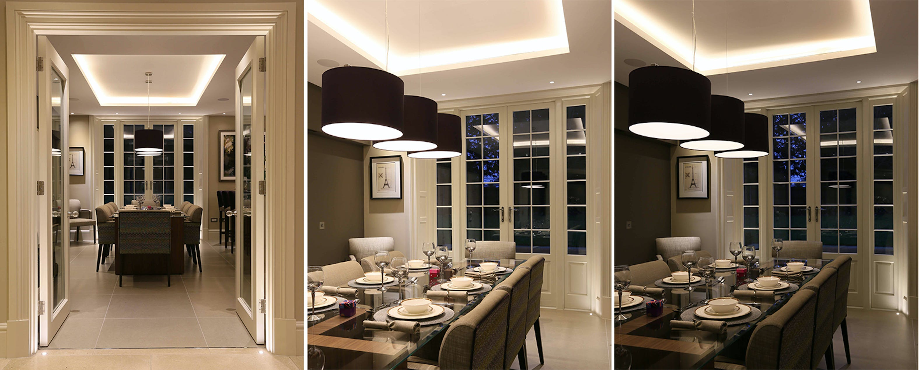 dining room lighting from three different views