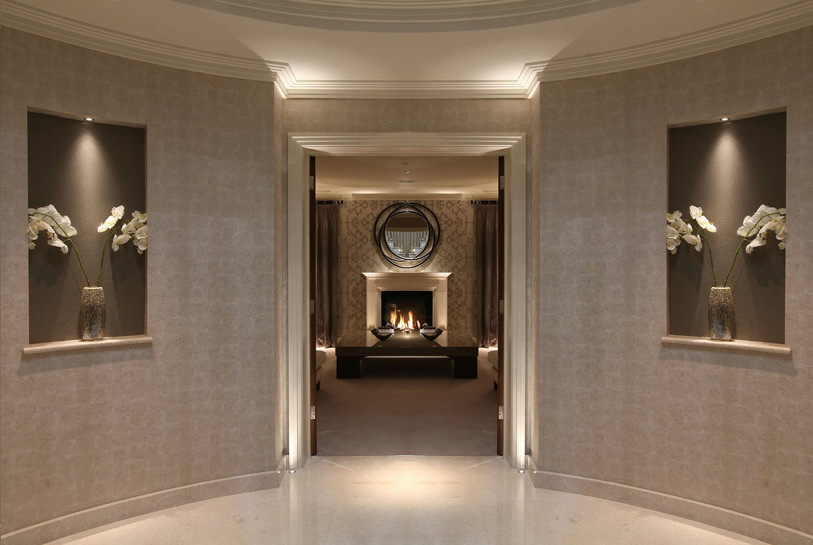 layered lighting entrance to room