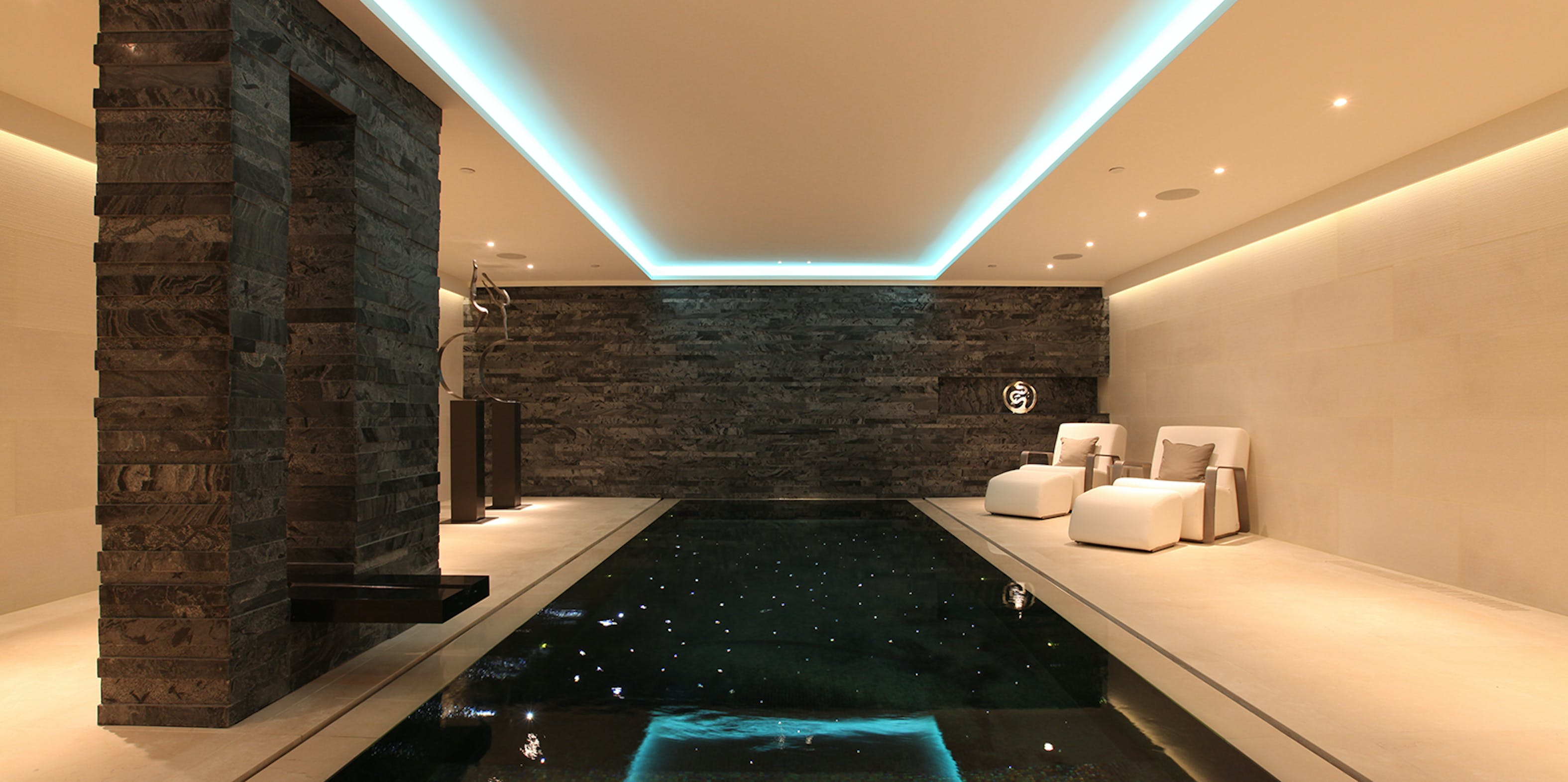 basement swimming pool with no natural light