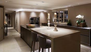 downlighting over kitchen island