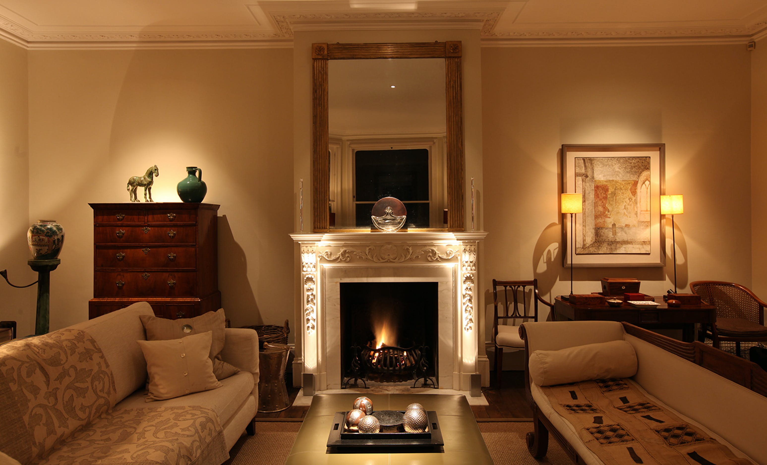 Country house living room lighting