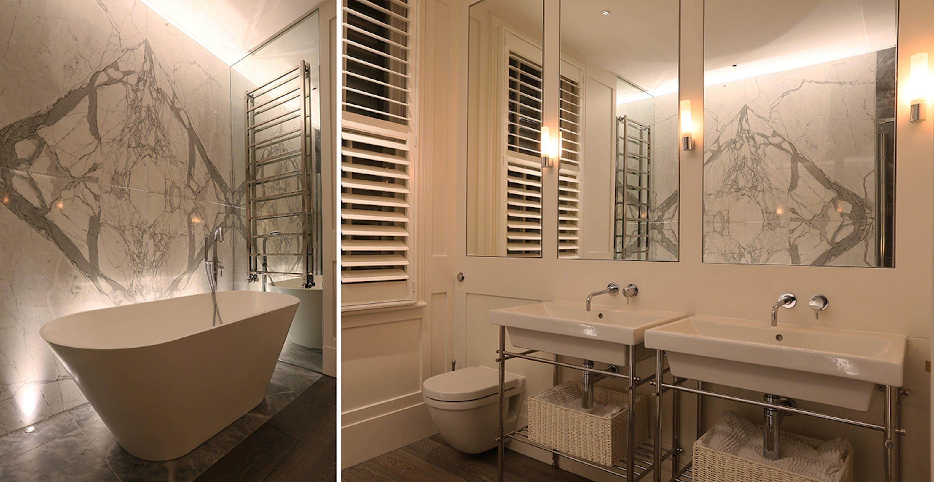 white marble bathroom lighting
