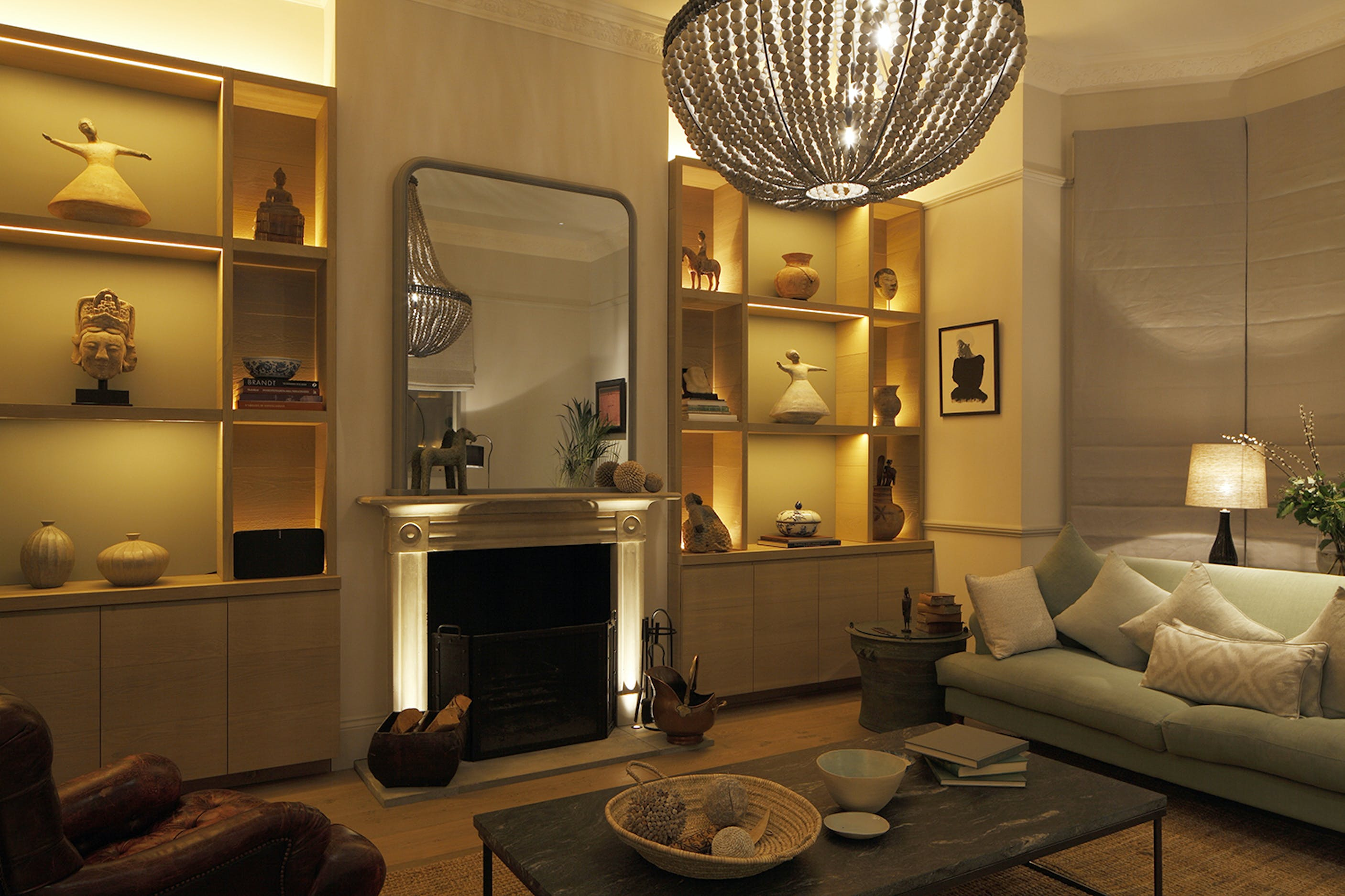 London fireplace and shelving lighting