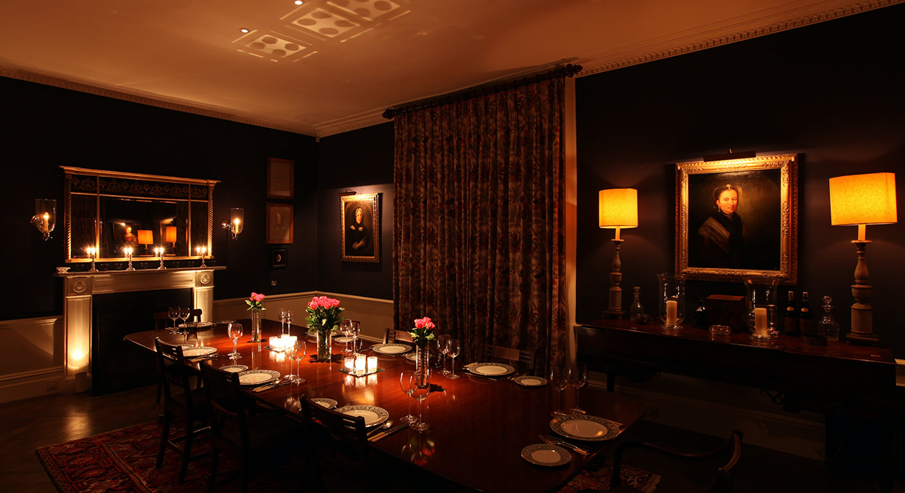 country house dining room lighting