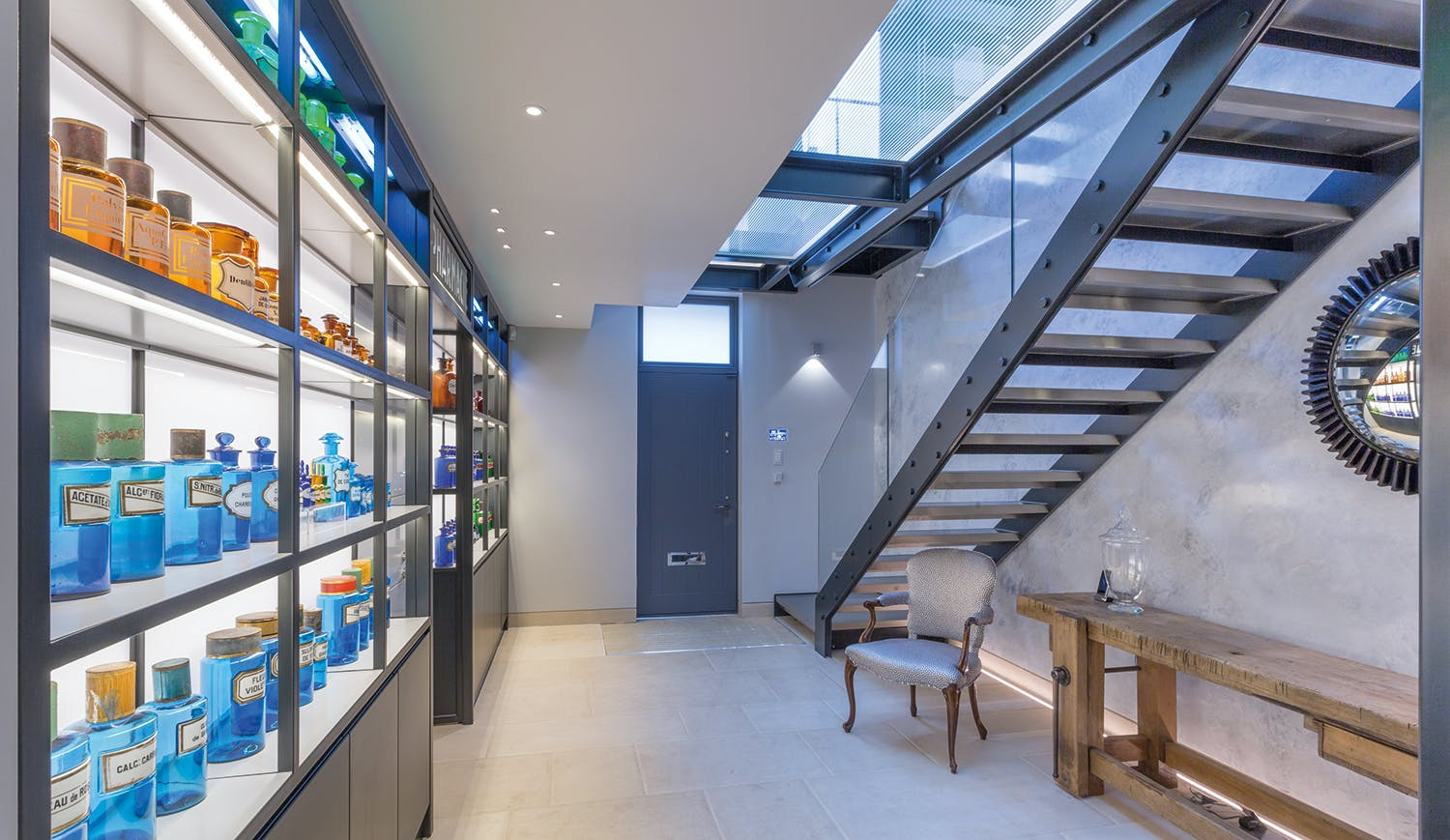 display cabinet and feature wall lighting