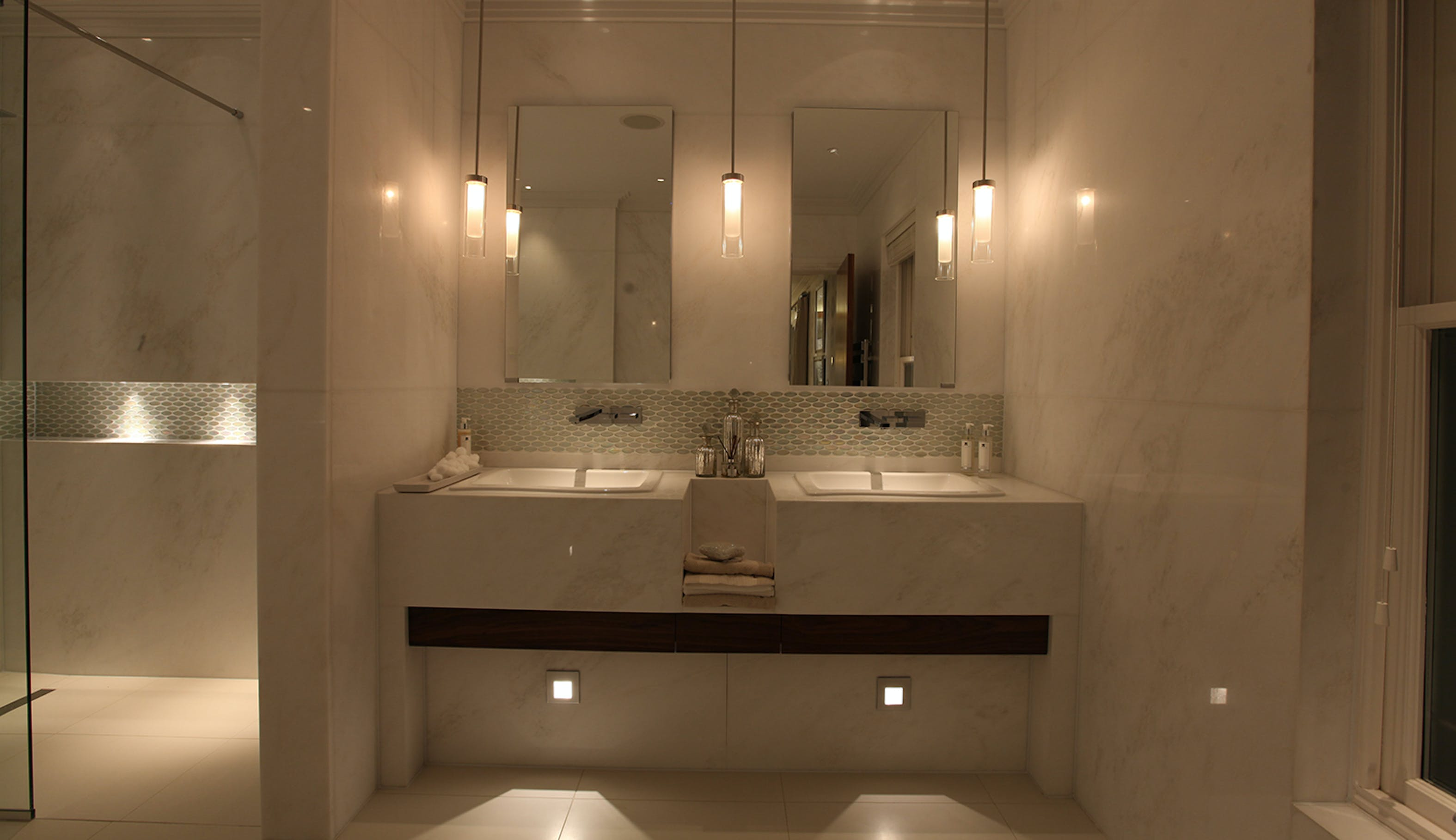 pendant and low level basin lighting design