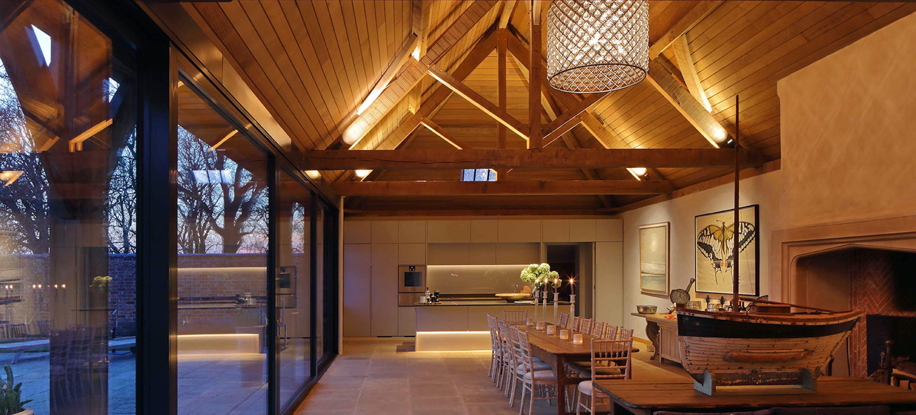 barn kitchen and living lighting