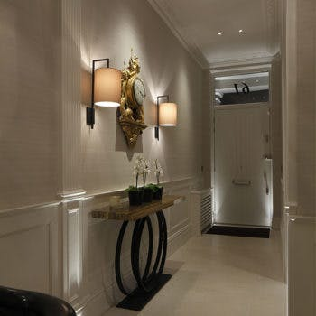 wall light with architectural lighting in a hall